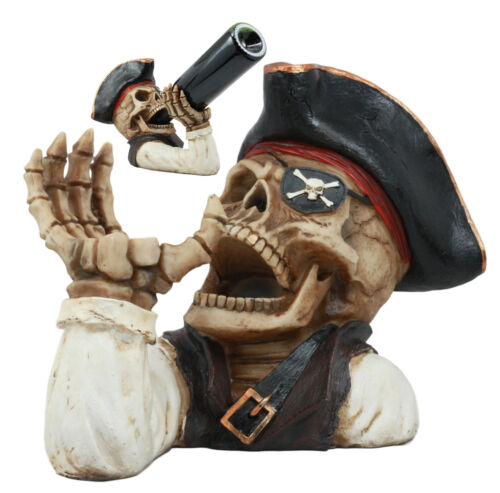 Ahoy Bootleg Rum Gold Tooth Pirate Captain Hook Skeleton Wine Holder Figurine