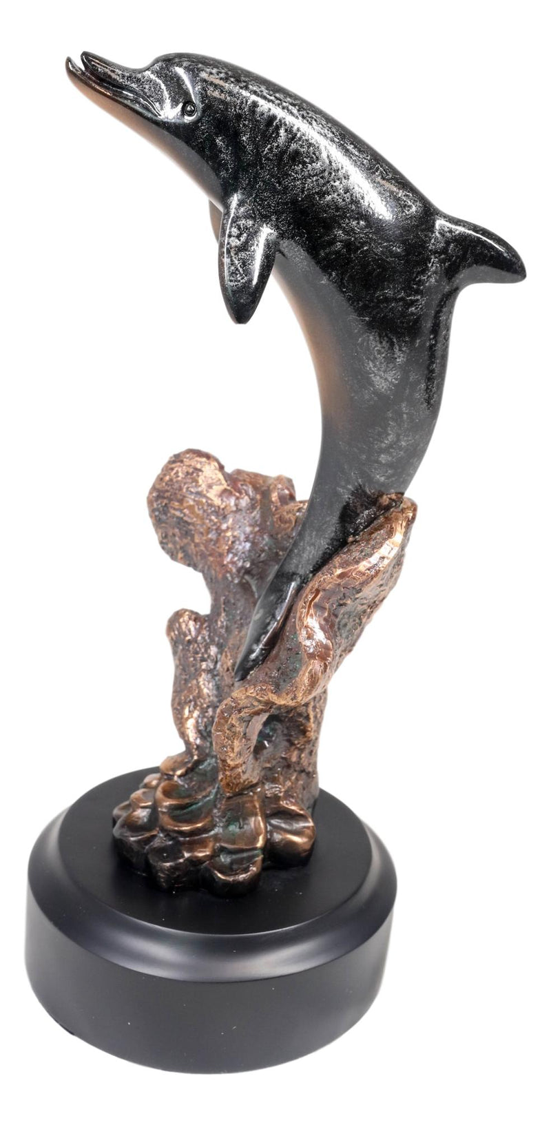 Marine Sea Dolphin Jumping Out Of Water Bronze Electroplated Resin Figurine
