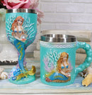 Nautical Turquoise Ocean Coral Reef Mermaid With Pearl Mug And Wine Goblet Set