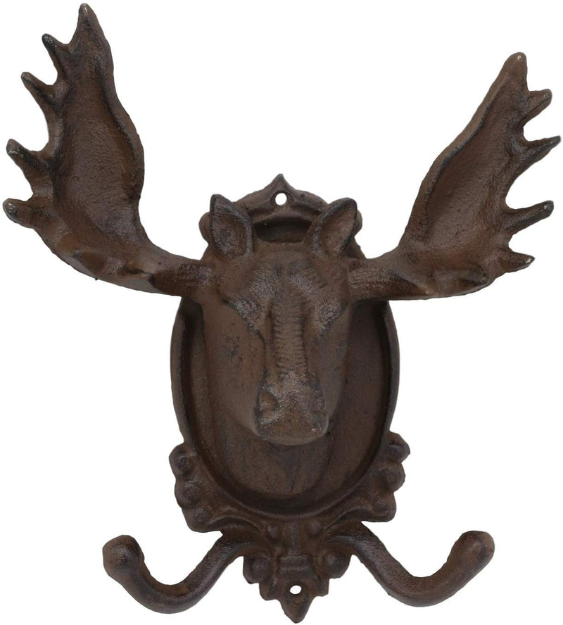 "Ebros Cast Iron Western Rustic Bull Moose Head Wall Double Hooks Plaque 9.25""H"
