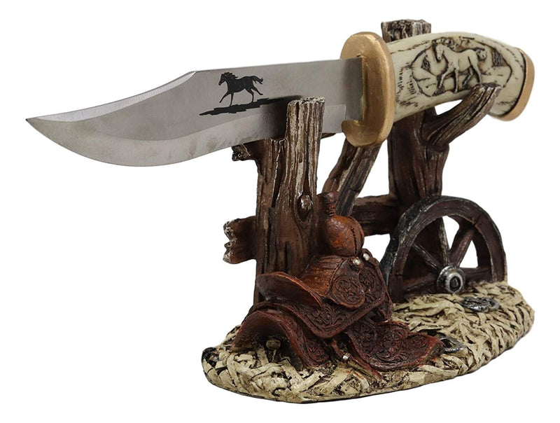 Western Horse Saddle By Wagon Wheel With Blunt Knife Display Holder Statue Set