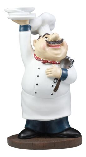 Be Our Guest French Bistro Chef Holding Plates And Utensils Statue Kitchen Decor