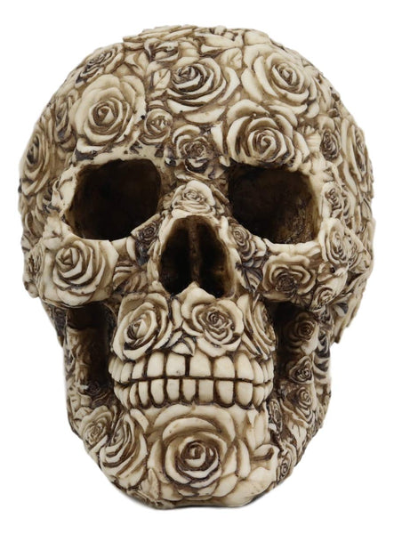 Ebros Day of The Dead Tooled Ornate Floral Skull Figurine DOD Rose Sugar Skulls Statue As Cranium Skeleton Head Halloween Ossuary Macabre Altar Decor Collectible