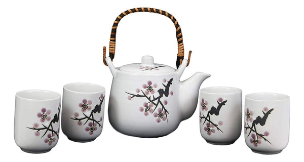 Ebros Japanese Design Pink Cherry Blossoms Sakura Porcelain White Tea Pot 20oz and Cups Set Serves 4 Guests Home Decor Asian Fusion Zen Fengshui Decorative Teasets Birthday Housewarming Gifts