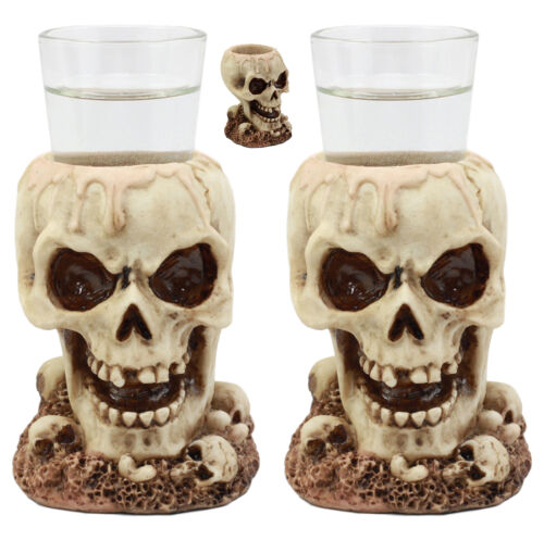 Twin Gothic Ossuary Graveyard Melting Skull Shot Glass Holder Figurine Set of 2