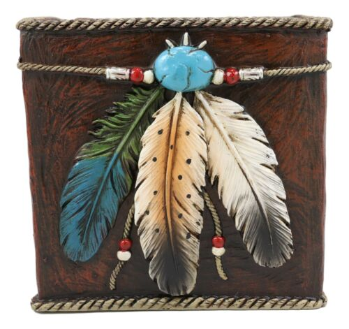 Ebros Southwestern Turquoise Gem 3 Feathers Tissue Box Cover Home Decor