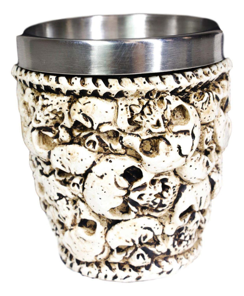 Novelty Ossuary Graveyard Piled Up Skulls And Spine Bones Shot Glass Set of 4
