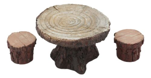 Enchanted Fairy Garden Miniature Tree Stump Table And 2 Stool Chairs Statues