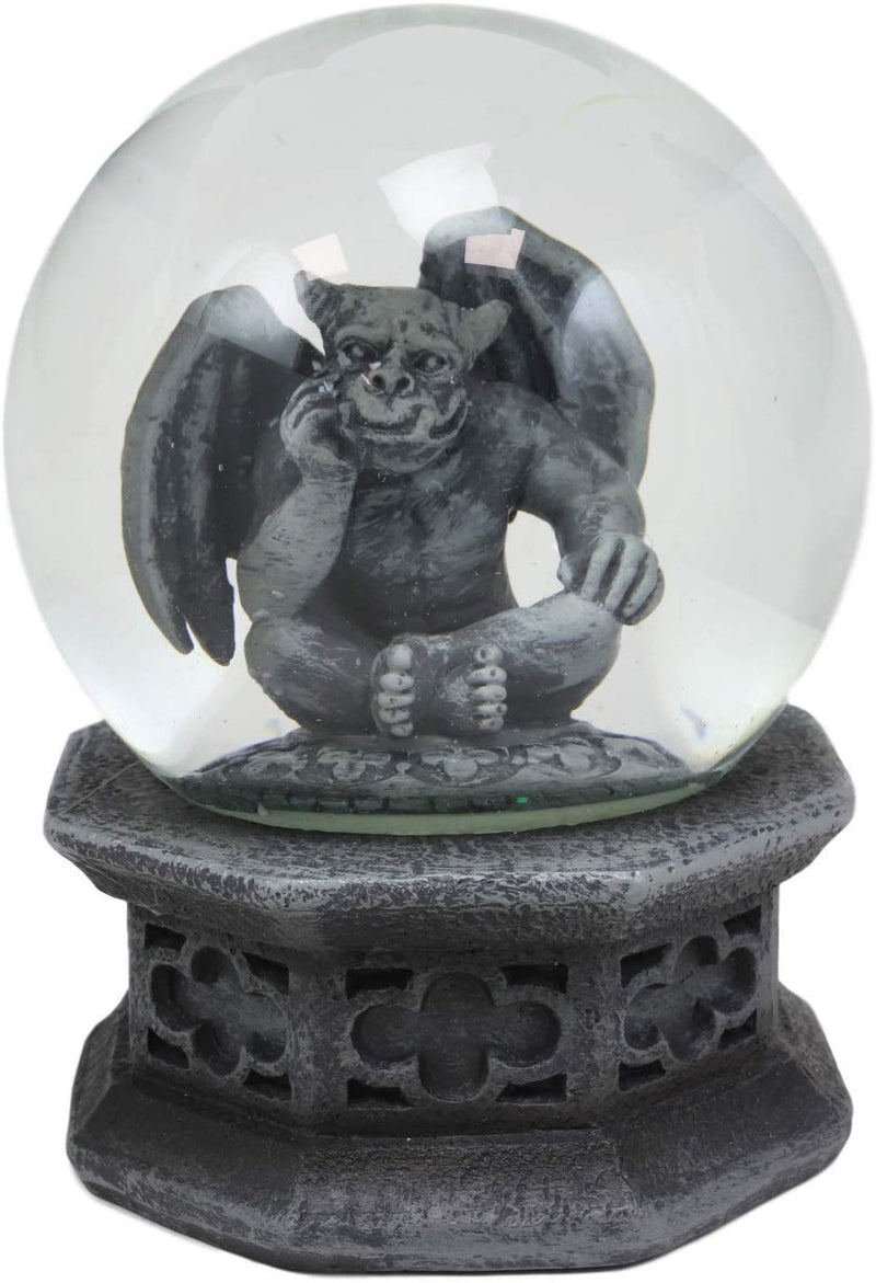 "Ebros Thinker Gargoyle Water Snow Globe with Pedestal Base 100mm Figurine 5""H"