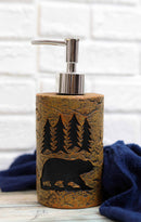 Rustic Black Bear By Pine Trees Silhouette Liquid Soap Or Lotion Pump Dispenser