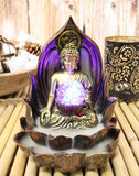 "Ebros Meditating Buddha Gautama Amitabha in Varada Mudra in Ohm Lotus Padma Throne Backflow Cone Incense Burner with Colorful LED Light Globe Statue 6"" Tall Buddhism Statue Feng Shui Decor Altar"