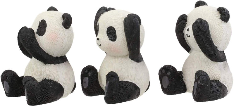 "Ebros Whimsical See Hear Speak No Evil Giant Pandas Set of 3 Figurine 2""H"