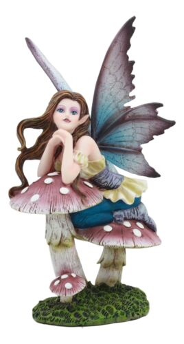 "Twilight Purple Toadstool Fairy Garden Statue 7""Tall Wishing Upon A Star Fairy"
