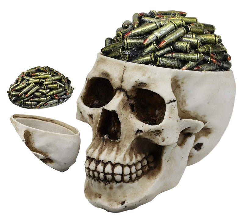 "Ebros Day of The Dead Ossuary Human Cranium Evil Grinning Skull Decorative Stash Box Figurine Skeleton Trinket Jewelry Box Statue 6.5"" Long (War Ammo Bullet Shell Casings)"