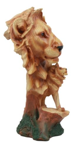 "African Savanna Safari Lion Bust Statue 9""H Lion King Pride Rock Faux Wood Resin - Atlantic Collectibles"