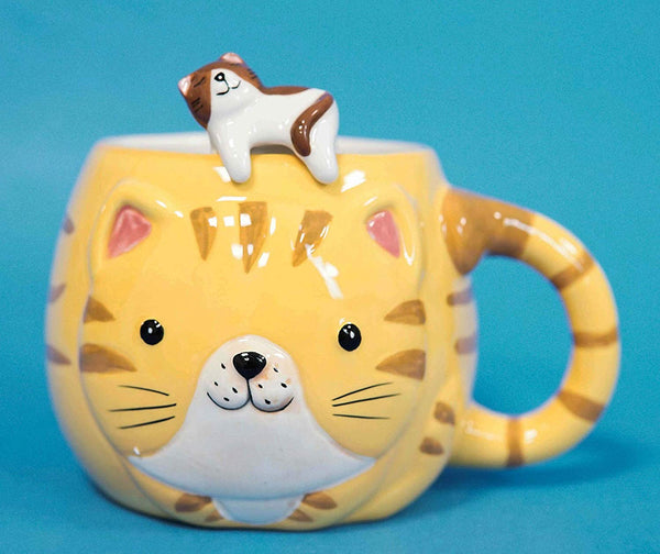 "Ebros Orange Tabby Cat Ceramic Coffee Mug With Kitten Latch On Spoon Set 5.5""L"
