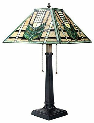 26 Inch Stained Glass Pattern Shade Green Arrow Mission Lamp - Atlantic Collectibles