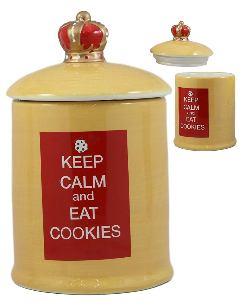 "Ebros A Royal Treat Keep Calm And Eat Cookies Ceramic Cookie Jar With Air Tight Lid 8.5""Tall Decorative Kitchen Accessory Figurine As Decor Storage For Dry Baking Ingredients Goods Knick Knacks"