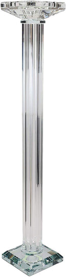 "Ebros Contemporary Crystal Glass Pillar Column Candle Holder Candlestick Candleholder Decor Figurine for Mantelpiece Countertop Table Master Bedroom Living Room Accent (21.5"" High)"