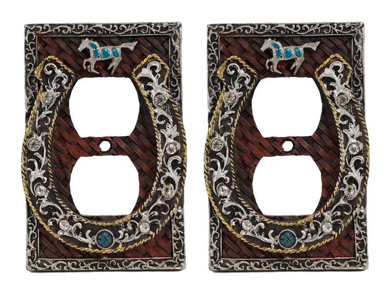 Set of 2 Western Horseshoe Turquoise Mustang Wall Double Receptacle Outlet Plate