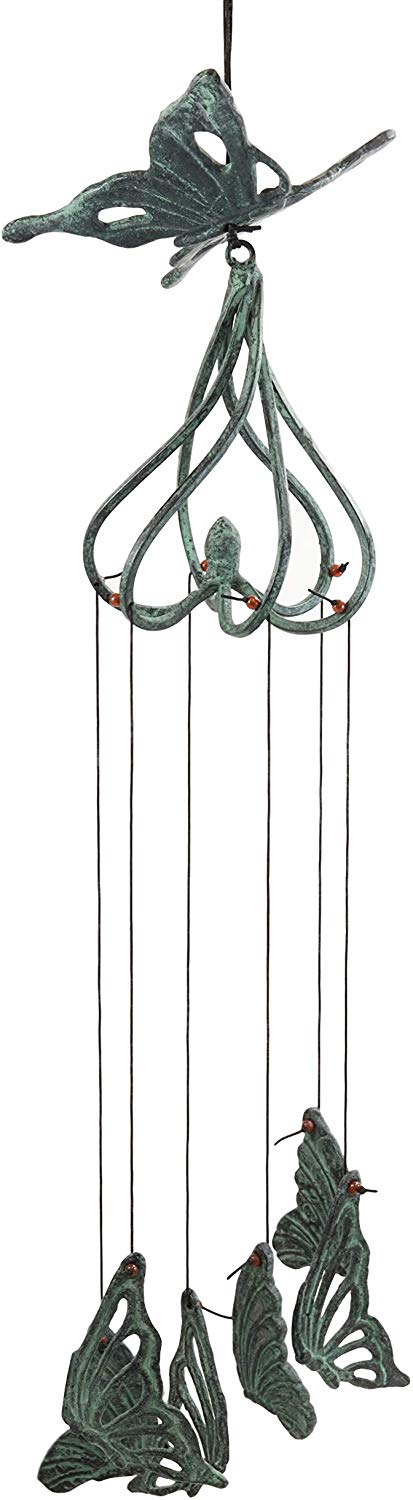 "Ebros Gift Beautiful Cottage Garden Verdi Green Swallowtail Butterfly Aluminum Metal Mobile Wind Chime 28"" Long Resonant Outdoor Whimsical Rustic Patio Deck Pool Decor Hanging Accessory Mariposa"