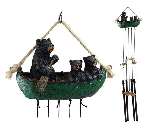 Ebros Gift Rustic Woodland Forest Black Bear Mother and 2 Cubs Family Rowing Canoe Boat Figurine Top Resonant Wind Chime with Fish Ornaments Garden Patio Rustic Cabin Lodge Mountain River Home Accent