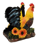 "Ebros Chicken Farm Morning Crow Rooster Dinner Napkin Holder Figurine 6"" Tall"