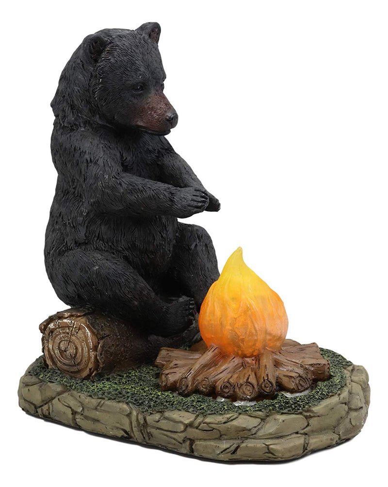 "Ebros Whimsical Rustic Forest Black Bear Warming Hands by Campfire LED Night Light Statue 10"" High Woodland Cabin Lodge Decor Bears Figurine for Mantelpiece Shelves Tables Decorative Home Accent"