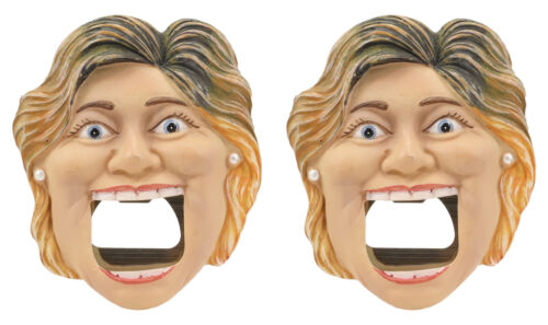 Secretary of State Democratic Hillary Clinton Beer Bottle Cap Opener Set Of 2