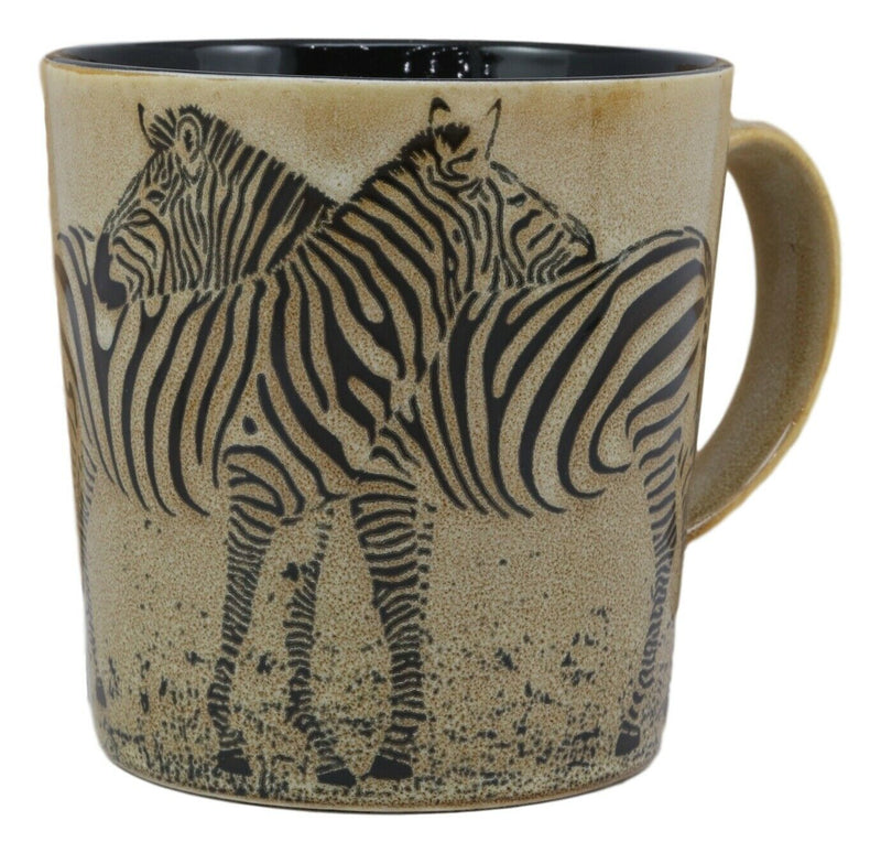 Romance In The Savanna Hugging Zebra Horse Couple Drinking Beverage Ceramic Mug