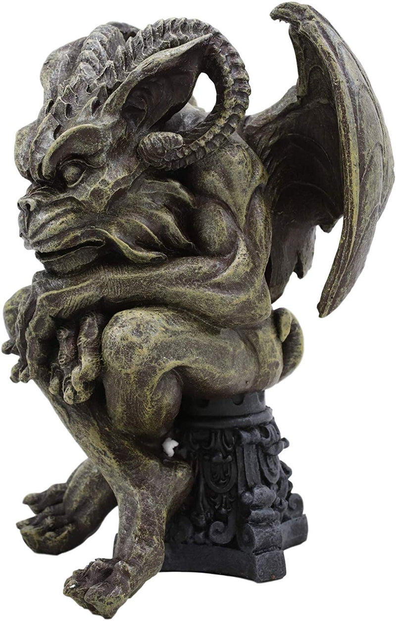 "Ebros Winged Ram Horned Gargoyle Sitting On Cathedral Pedestal Statue 6"" High"