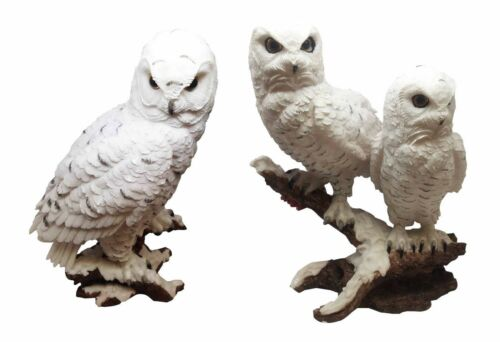 Woodlands Night Watch White Snow Owls Perching on Tree Branch Figurine Set of 2