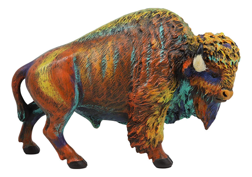 Ebros Gift Colorful Native American Bison Buffalo Figurine 9 25 Long