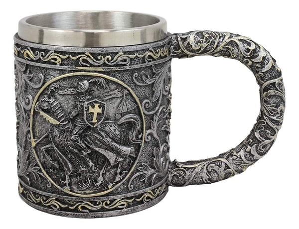 Ebros Medieval Knight Of The Cross Charging On Cavalry Horse Coffee Mug 14 Ounce