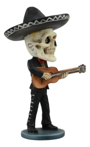 "Ebros Day Of The Dead Skeleton Wedding Mariachi Guitar Player Bobblehead Statue 6""Tall Traditional Dias De Muertos Sugar Skull Bobblehead Figurine"