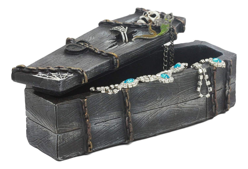 "Ebros Day Of The Dead Thriller Haunted Graveyard Skeleton Breaking Out Of Coffin Jewelry Box Figurine 7""Tall"