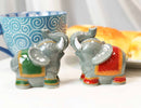 Ceramic Circus Carnival Elephants Trunks Up Salt Pepper Shakers Figurine Set