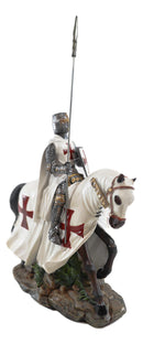 Crusader English Knight On Cavalry Horse Statue Phalanx Spear Horse Warrior