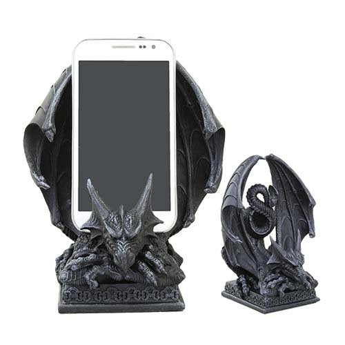 Ebros Crouching Dragon Cell Phone Figurine In Faux Stone Resin Desktop Decor