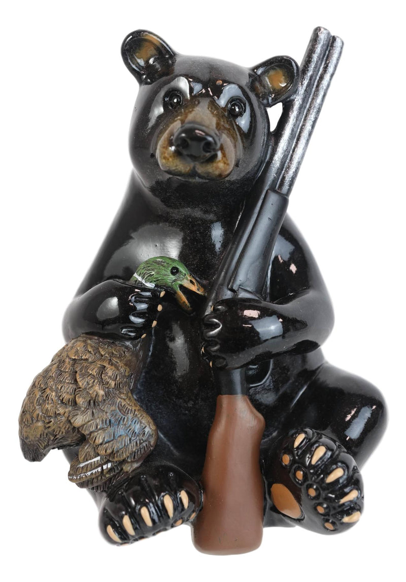 Western Rustic Hunter Black Bear Holding Shotgun And Mallard Duck Figurine Decor