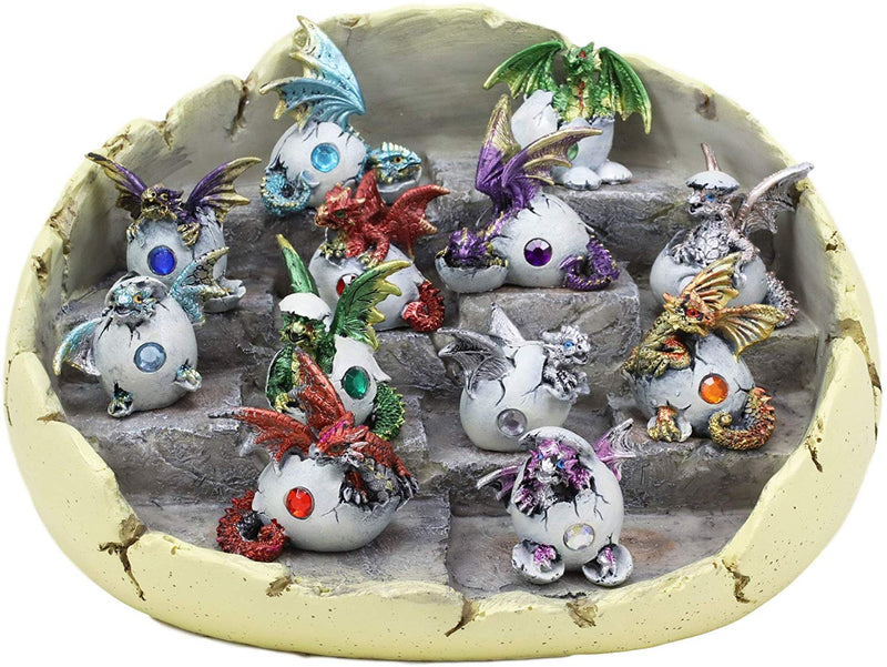 Ebros Colorful 12 Month Birthstone Dragons in Gemstone Eggs Miniature Figurines with Dragon Egg Display Stand Set Gem Stone Birthday Medieval Fantasy Hatchling Figurines Collectible