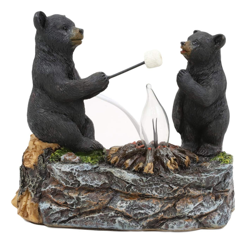 Ebros Whimsical Rustic Forest Black Bears Father and Son Making Marshmallow Smores by Bonfire Campfire Night Light Small Statue Woodland Cabin Lodge Decor Bear Figurine As Decorative Home Accent