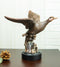 Rustic Pond Flying Mallard Duck Statue In Bronze Electroplated Resin Finish