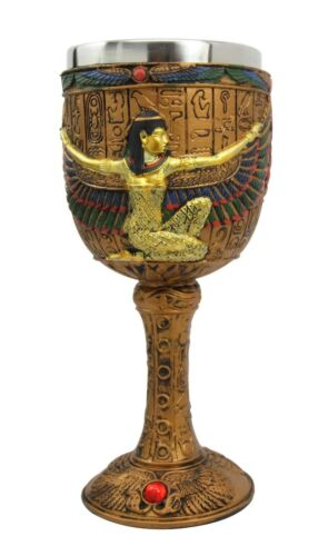 Ancient Egyptian Winged Goddess Isis Motherhood Justice Wine Goblet Chalice Cup