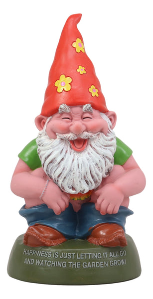 "Ebros Butt Naked Defecating Fertilizers Organically Pooping Hippie Gnome Statue 12"" Tall As Collectible of Whimsical Hipster Happy Gnomes Perfect for Home Patio Garden Poolside Decor Figurine"