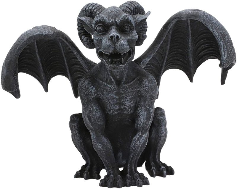 "Ebros Crouching Ram Horned Gargoyle Statue in Faux Stone Finish Resin 6.25"" Tall"
