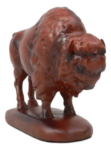 "Ebros Faux Wood Grazing American Bison Figurine 6"" L Wildlife Animal Buffalo Statue As Western Rustic Decor Statue As Gift for Buffalo Bills Fans Fans Or Lovers of Buffaloes"