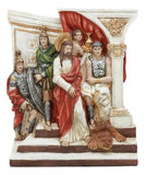Ebros Christian Catholic Stations of The Cross Statue Or Wall Plaque Way of The Sorrows Via Crucis Jesus Christ Path to Calvary Crucifixion Decor Figurine (Station 1 Jesus is Condemned to Death)