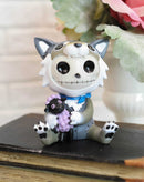 Larger Furrybones Wolfgang Skeleton In Wolf Costume With Purple Sheep Figurine