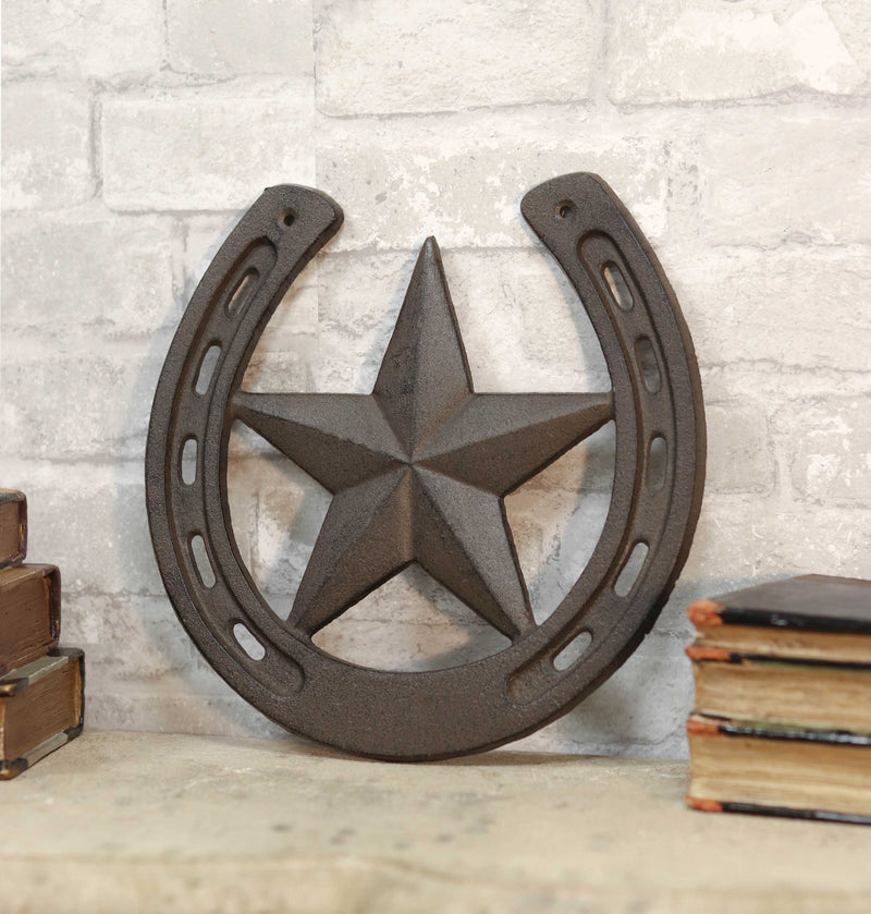 "10""W Rustic Cast Iron Cowboy Horseshoe With Western Star Wall Decor Art Plaque"